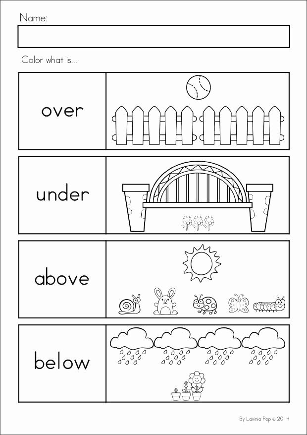 Positional Words Worksheets for Preschool Inspirational Kindergarten Summer Review Math & Literacy Worksheets