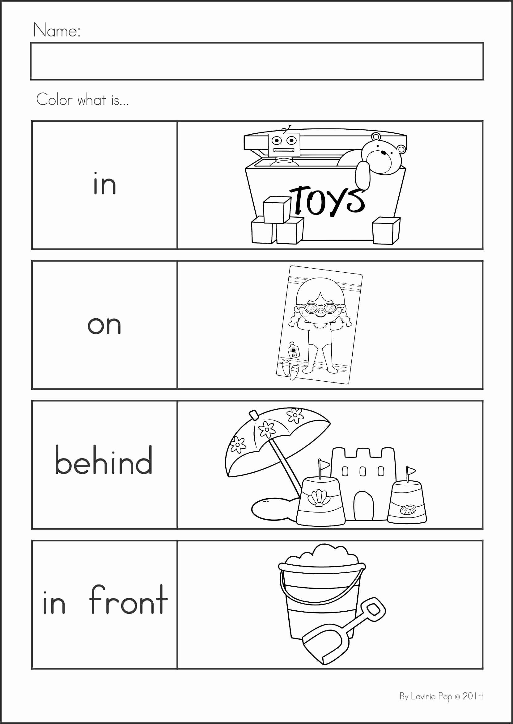 Positional Words Worksheets for Preschool Kids Summer Review Kindergarten Math & Literacy Worksheets