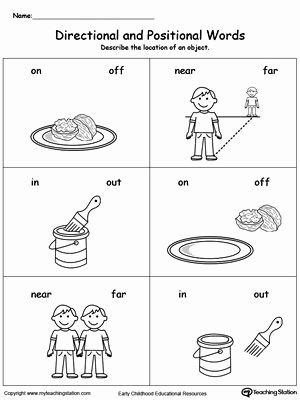 Positional Words Worksheets for Preschool New Directional and Positional Words