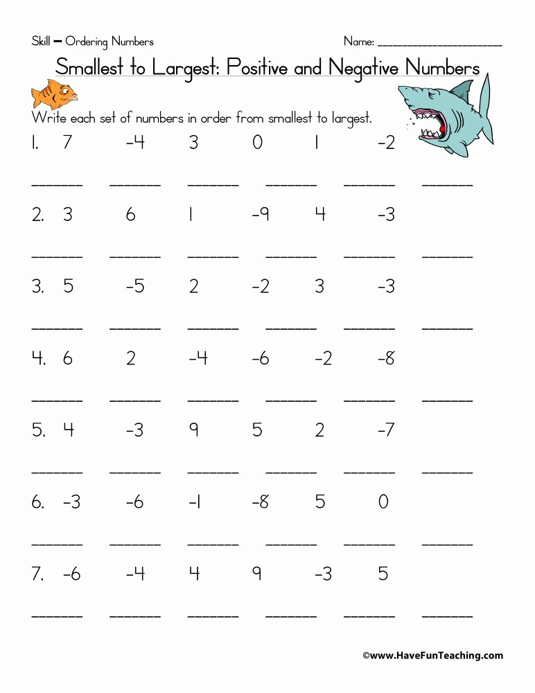 Positive and Negative Number Worksheets Free ordering Positive and Negative Numbers Worksheet