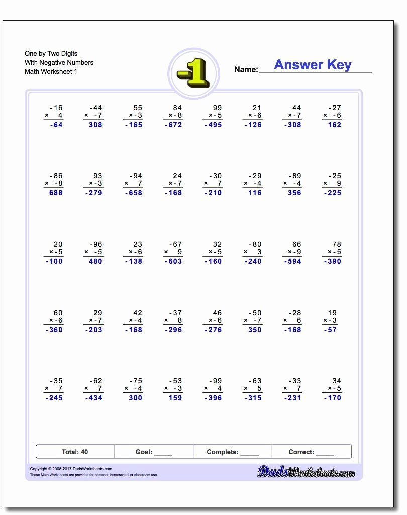 Positive and Negative Number Worksheets New these Negative Numbers Worksheets Will Have Your Kids