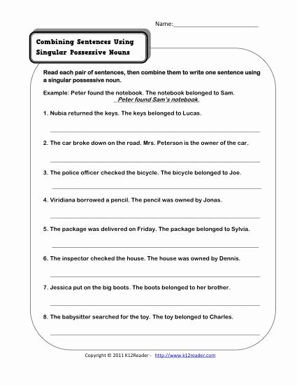 Possessive Noun Worksheet 2nd Grade Lovely Singular Possessive Nouns