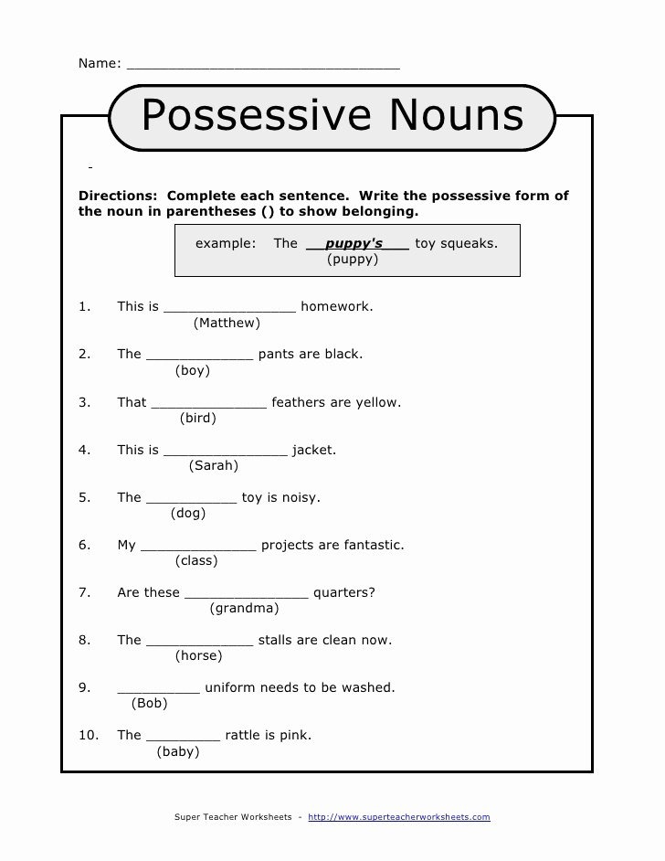 Possessive Nouns Worksheets 1st Grade Ideas Possessive Nouns