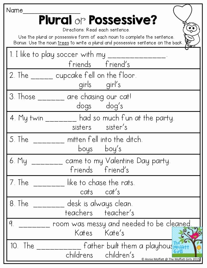 Possessive Nouns Worksheets 2nd Grade Lovely Plural or Possessive Use the Plural or Possessive form Of