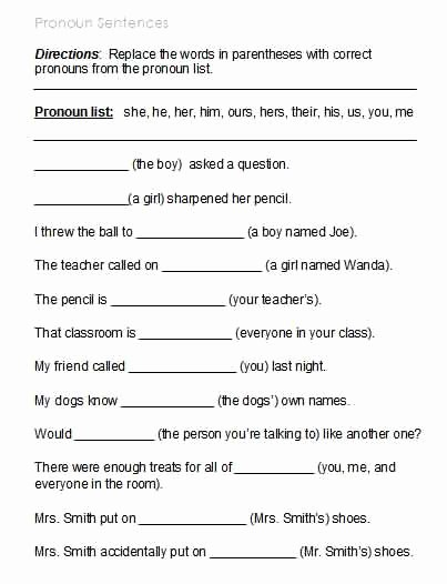 Possessive Pronoun Worksheet 3rd Grade Printable Free Possessive Pronoun Worksheets