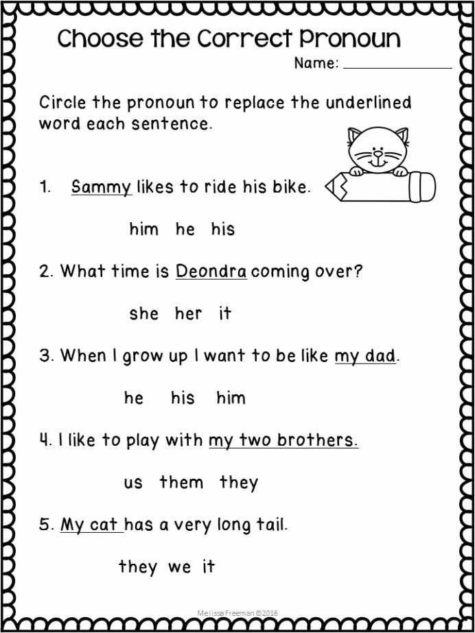 Possessive Pronouns Worksheet 2nd Grade Inspirational Pronouns Worksheets Pronoun 2nd Grade Reading Learning