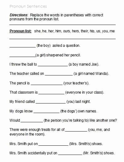 Possessive Pronouns Worksheet 5th Grade Inspirational Free Possessive Pronoun Worksheets
