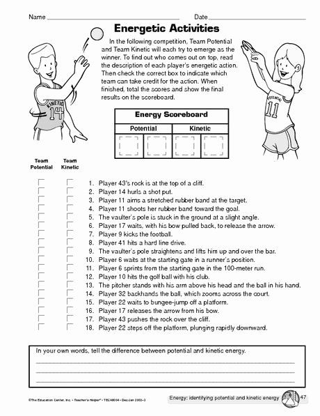 Potential and Kinetic Energy Worksheet Best Of Potential Vs Kinetic Energy