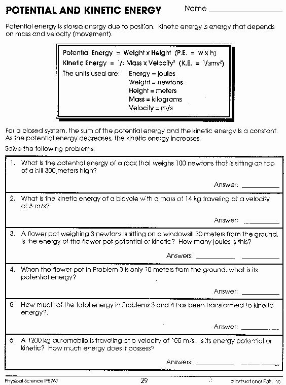 Potential Versus Kinetic Energy Worksheet Free Security Check Required