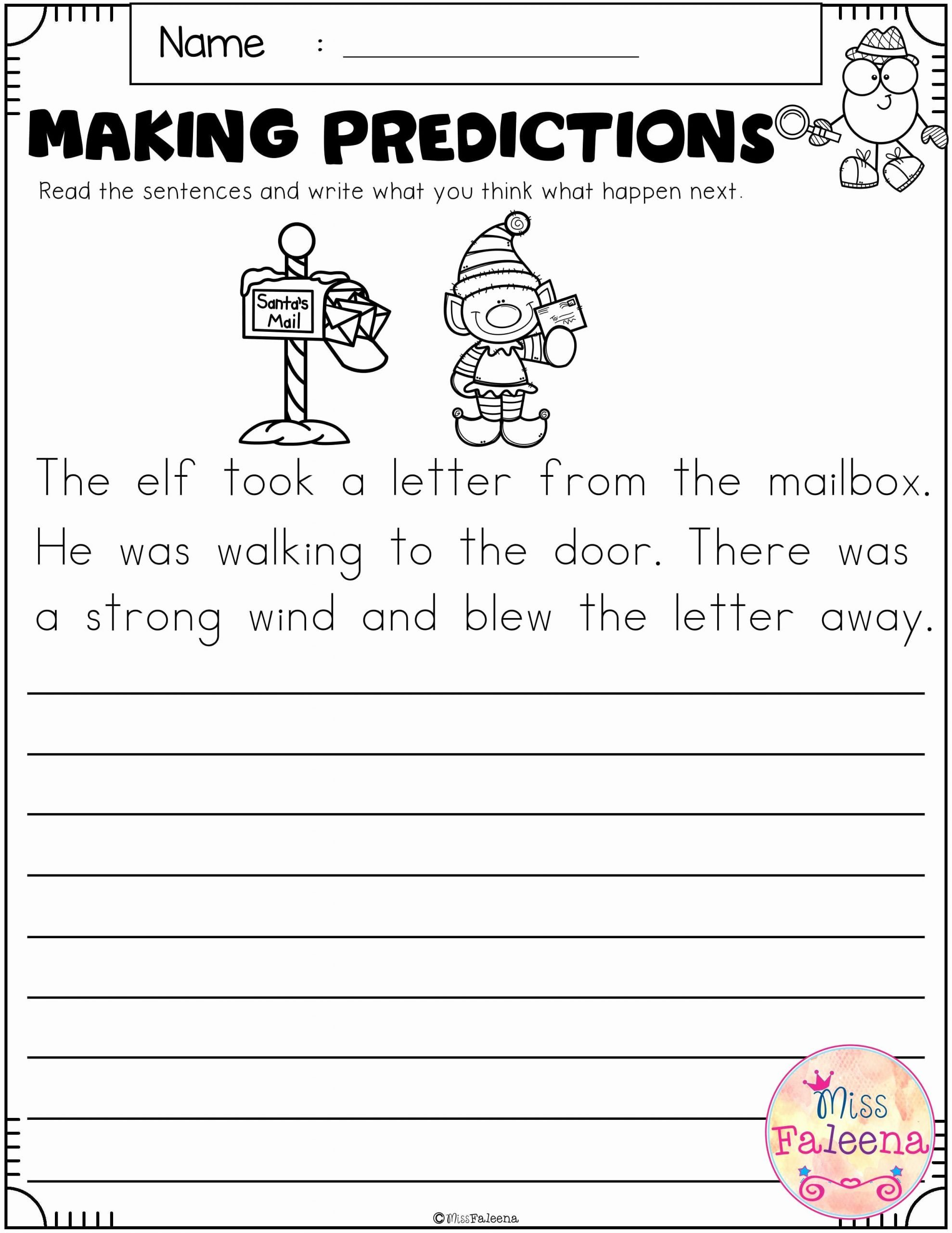 Prediction Worksheets for 2nd Grade Kids Pre Reading Prediction Worksheet