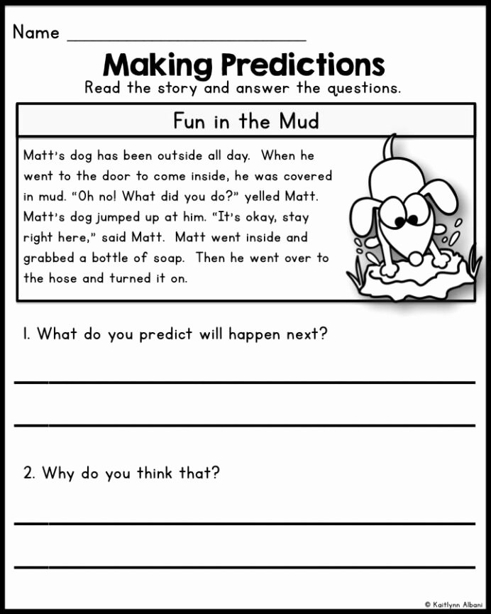 Prediction Worksheets for 2nd Grade Printable Reading Prehension Passages Predicting Skills for First