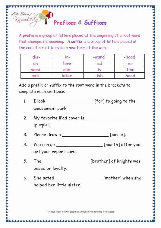 Prefix Suffix Worksheet 3rd Grade top Recipe Karahi Lets Knowledge Prefix and Suffix