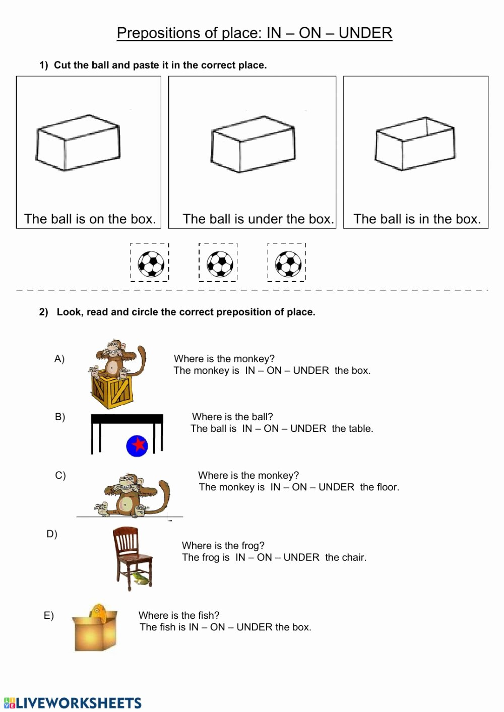 Preposition Worksheets for Grade 1 Best Of In On Under Interactive Worksheet