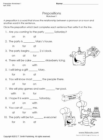 Preposition Worksheets for Grade 1 Best Of Pin On English