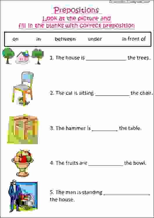 Preposition Worksheets for Grade 1 Fresh English Grammar Worksheet with Pictures to Practice