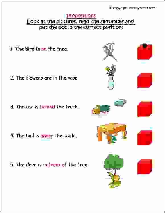 Preposition Worksheets for Grade 1 Inspirational Prepositions Worksheet 2