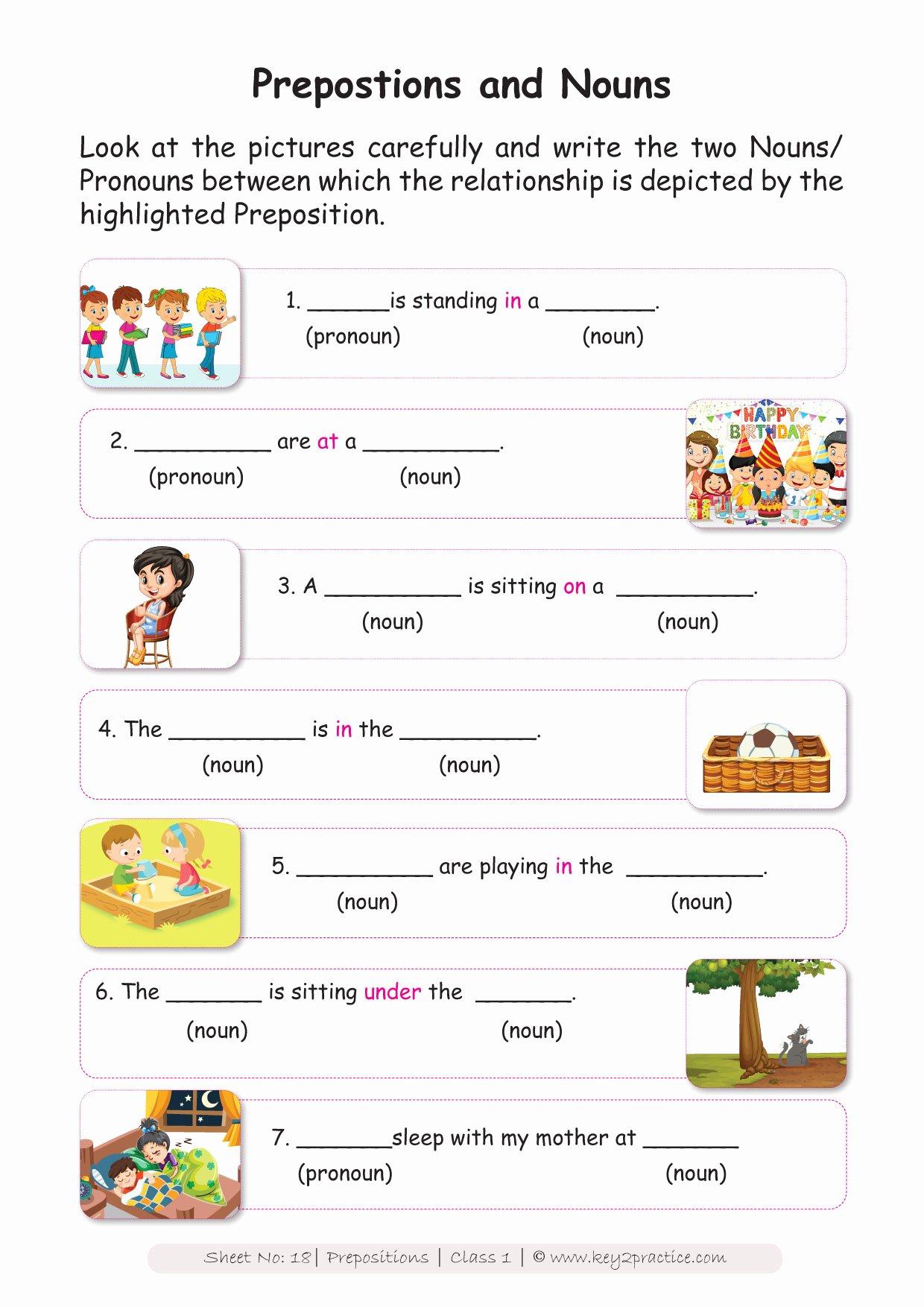 Preposition Worksheets for Grade 1 Inspirational Prepositions Worksheets Grade 1 I English Key2practice Workbooks
