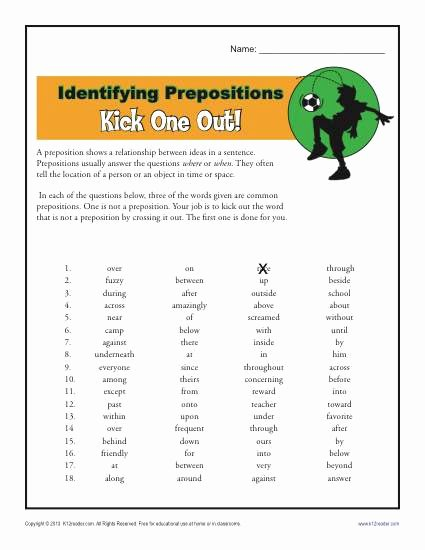 Preposition Worksheets for Middle School Free Preposition Worksheet Identifying Prepositions