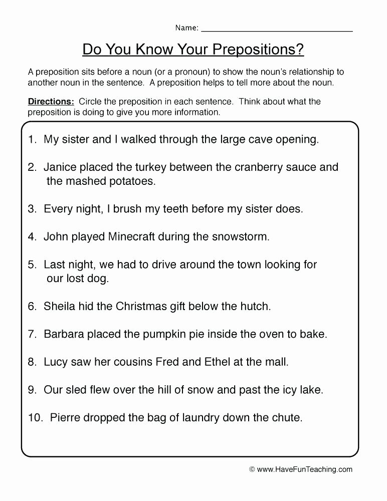 Preposition Worksheets for Middle School Ideas Preposition Worksheets Middle School Resources Prepositions