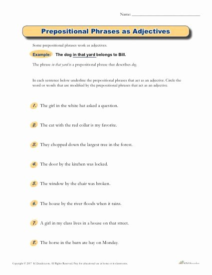 Prepositional Phrase Worksheet 4th Grade Best Of Prepositional Phrases as Adjectives