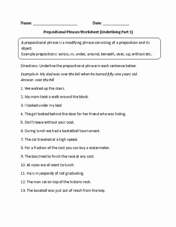 Prepositional Phrase Worksheet with Answers Best Of Englishlinx Prepositions Worksheets