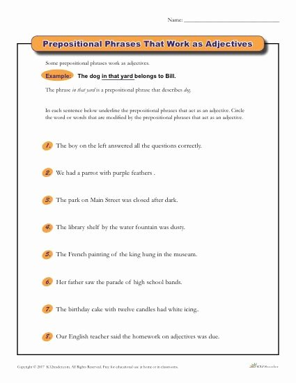 Prepositional Phrase Worksheet with Answers Printable Prepositional Phrases that Work as Adjectives
