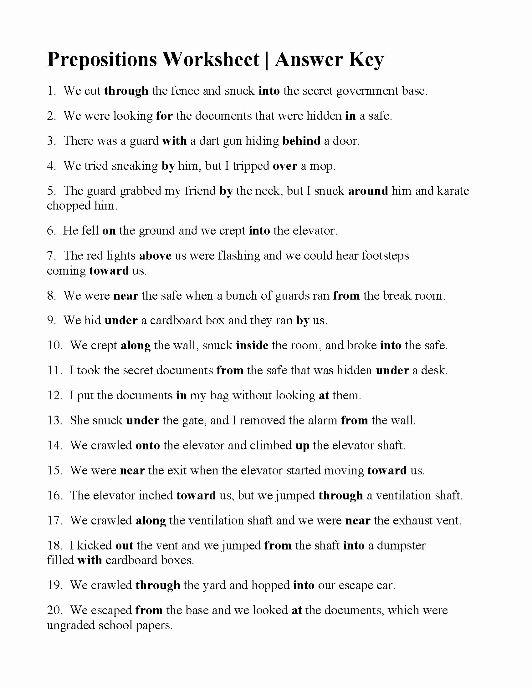 Prepositional Phrase Worksheet with Answers Printable Prepositions Worksheet