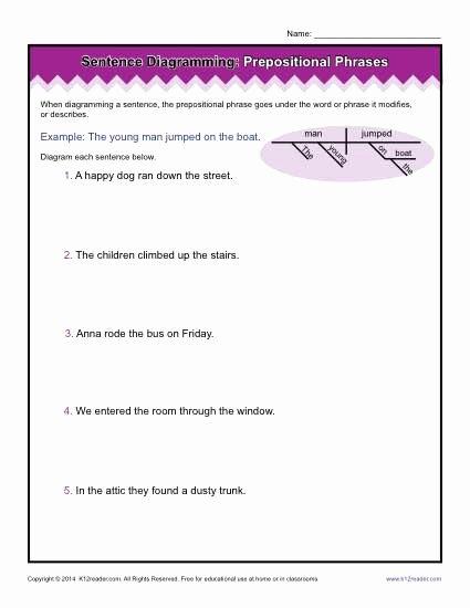 Prepositional Phrases Worksheet 6th Grade Best Of Diagramming Sentences Worksheets Prepositional Phrases