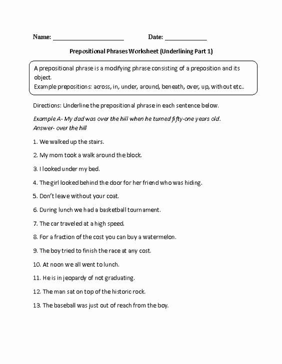 Prepositional Phrases Worksheet 6th Grade Inspirational Englishlinx Prepositions Worksheets