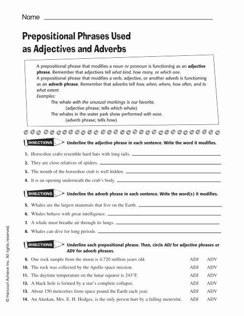 Prepositional Phrases Worksheet 6th Grade Kids Prepositional Phrases Used as Adjectives and Adverbs