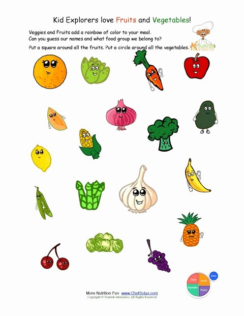 Preschool Fruits and Vegetables Worksheets Best Of Printable Identify the Fruits and Ve Ables Worksheet