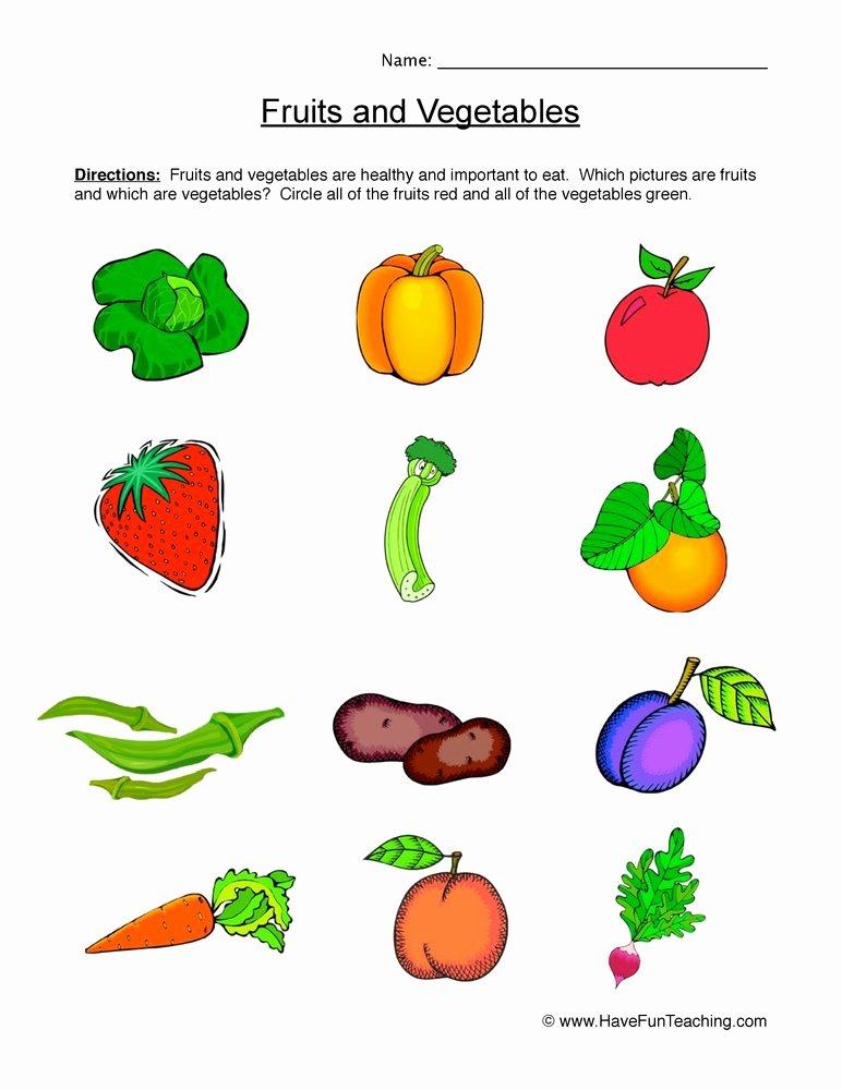 Preschool Fruits and Vegetables Worksheets Ideas Fruits and Ve Ables Worksheet