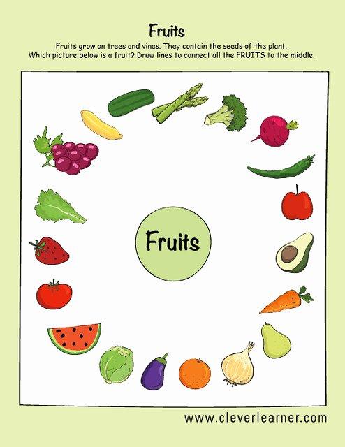 Preschool Fruits and Vegetables Worksheets New Fruits and Ve Ables Preschool Worksheets