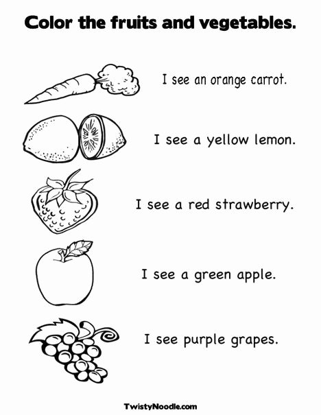 Preschool Fruits and Vegetables Worksheets top Color the Fruits and Ve Ables Coloring Page