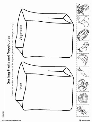 Preschool Fruits and Vegetables Worksheets top sorting Fruits and Ve Ables In Grocery Bags