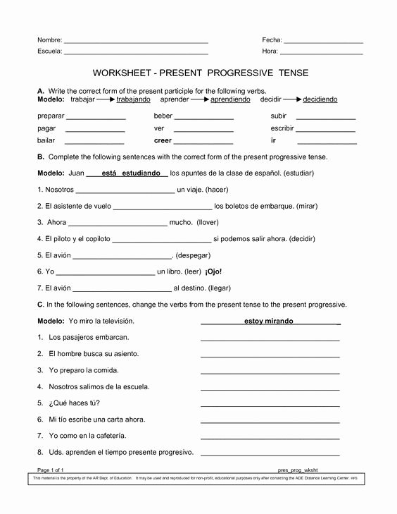 Present Progressive Spanish Worksheet Answers Best Of Spanish Worksheets Printables