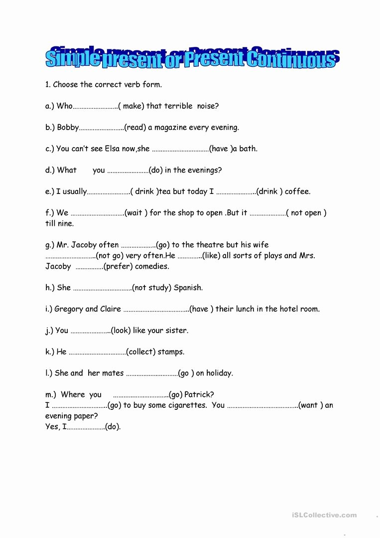 Present Progressive Spanish Worksheet Answers Inspirational Present Continuous or Simple English Esl Worksheets for