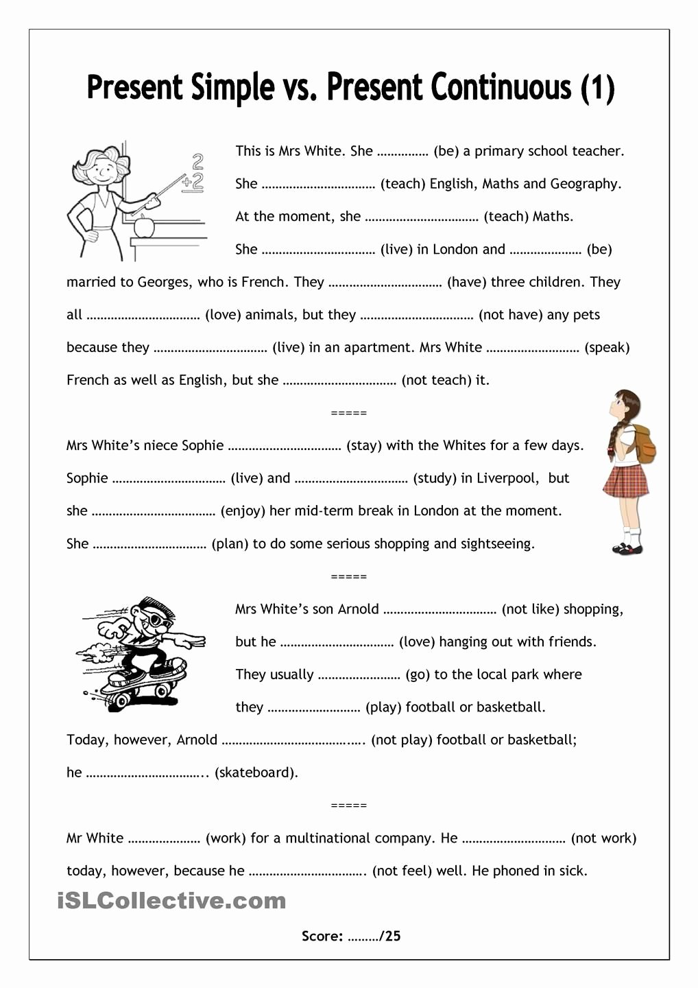 Present Progressive Spanish Worksheet Answers Kids No Frills Worksheet for All Ages Present Simple Vs Present