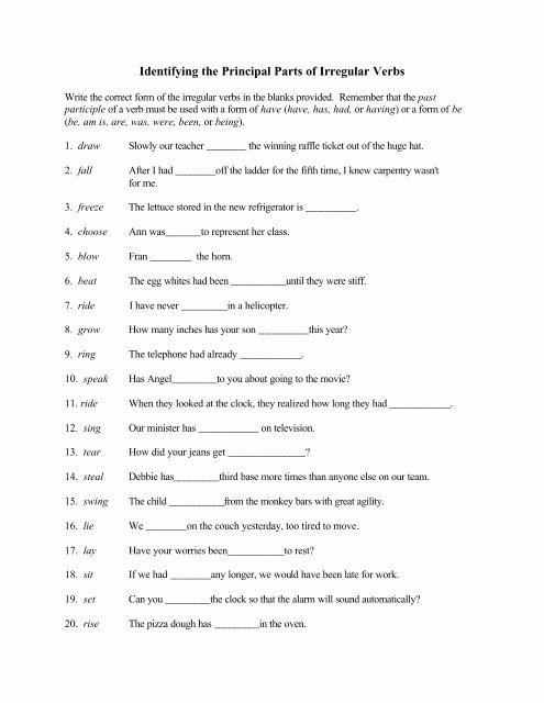 identifying the principal parts of irregular verbs