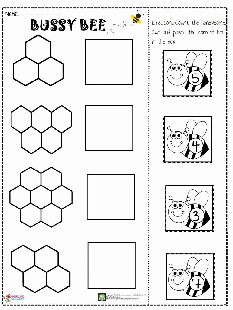 Printable Cut and Paste Worksheets Inspirational Number Cut and Paste Worksheet Preschoolplanet Free