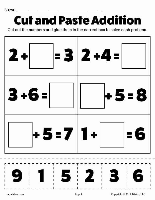 Printable Cut and Paste Worksheets Lovely Printable Cut and Paste Addition Worksheet