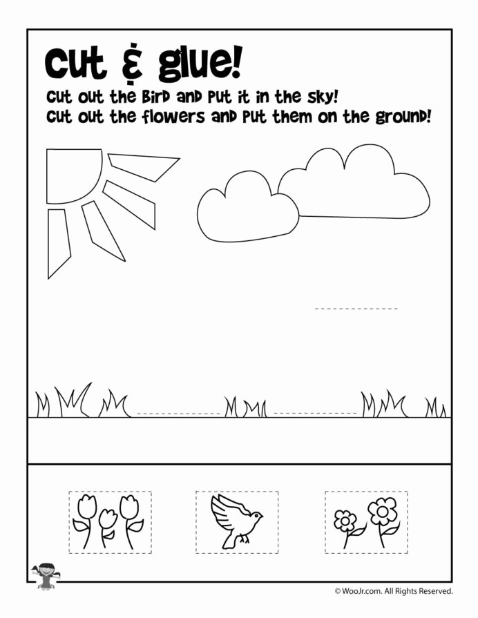Printable Cut and Paste Worksheets Printable Summer Preschool Worksheets Cut and Glue Free Math Telling