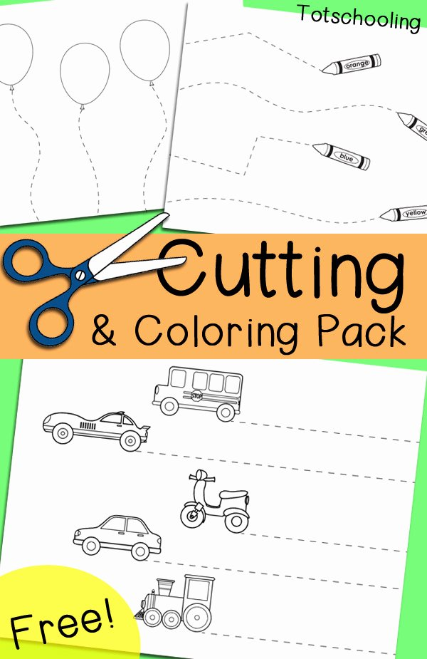 Printable Cutting Worksheets for Preschoolers top Free Cutting & Coloring Pack