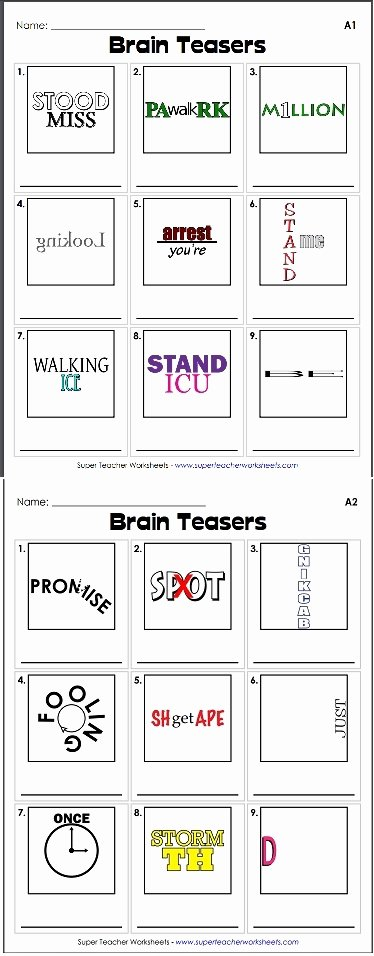 Printable Rebus Puzzles for Kids Kids Brain Teaser Rebus Puzzles