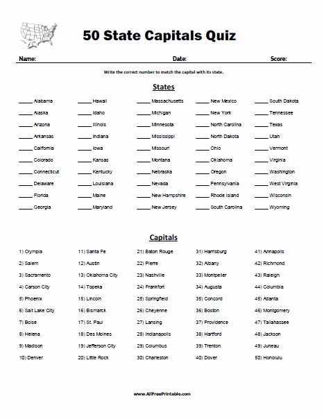Printable States and Capitals Quiz Fresh 50 State Capitals Quiz Free Printable Allfreeprintable