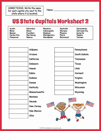 Printable States and Capitals Quiz Lovely Free Us State Capitals Worksheet and Worksheets Math is Fun