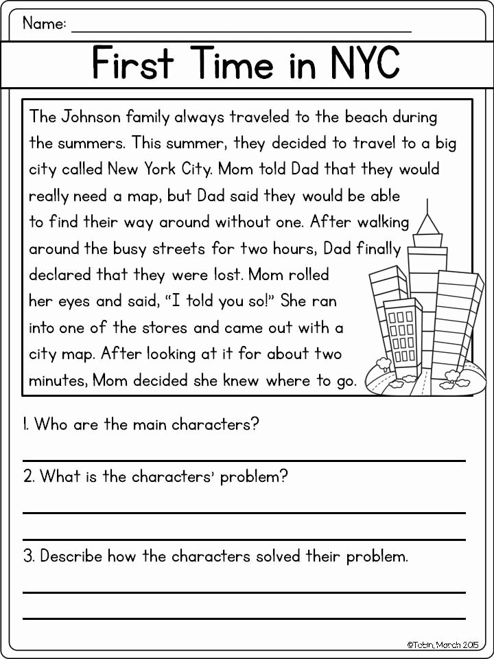 Problem and solution Reading Worksheets Free Character Response Rl2 3