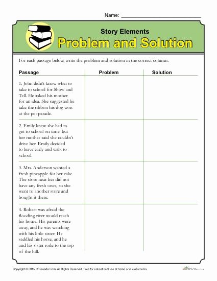 Problem and solution Reading Worksheets Free Story Elements Worksheet Problem and solution