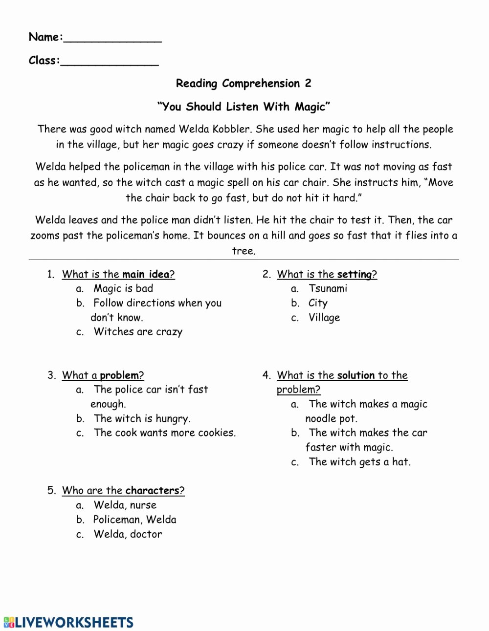 Problem and solution Reading Worksheets Fresh Reading Prehension Follow Directions Interactive