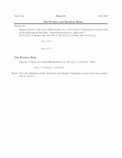 Product and Quotient Rule Worksheet Inspirational the Product and Quotient Rules Worksheet for Higher Ed